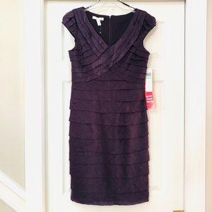 NWT London Times Shimmer Ruffled V-neck Dress